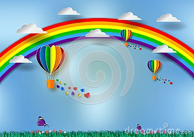 Paper cut heart shape with rainbow and balloons for LGBT or GLBT pride, or lesbian, gay, bisexual, transgender, on blue background