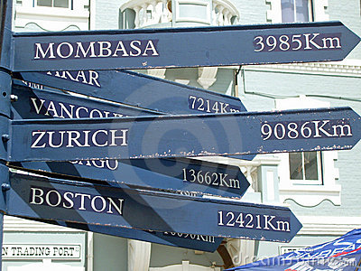 Mileage Capital City Direction Sign