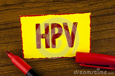 Handwriting text Hpv. Concept meaning Human Papillomavirus Infection Sexually Transmitted Disease Illness written on Yellow Sticky