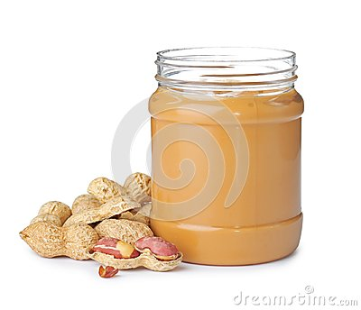 Jar with creamy peanut butter