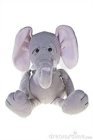 Elephant stuffed toy, isolated on white