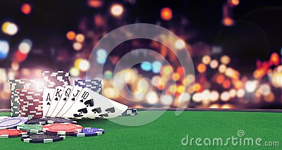 Poker flush royal background with casino chips on green table
