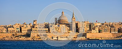 Valletta, Malta, Skyline in the afternoon with the dome of the Carmelite Church and the tower of St Paul`s