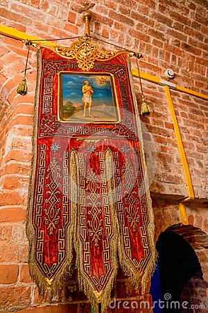 MOSCOW - NOVEMBER 2, 2014: Gonfalon inside St.Basil`s Cathedral in Moscow