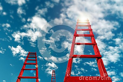 Business Development Motivation Career Growth Concept. Red Staircase Rests Against Blue Sky And Clouds