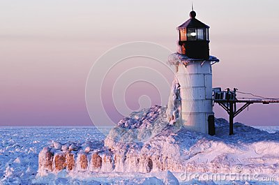 Frozen Pink Lighthouse on Lake Michigan