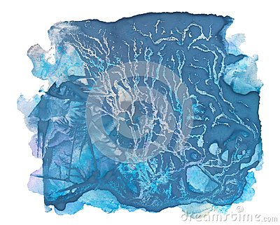 Abstract aquatype watercolor stain with splashes and spatters.