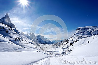 Snow mountains landscape sunny day