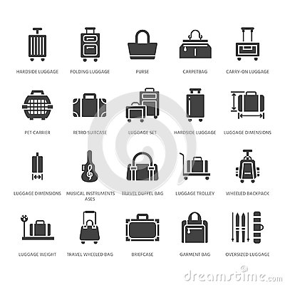 Luggage flat glyph icons. Carry-on, hardside suitcases, wheeled bags, pet carrier, travel backpack. Baggage dimensions