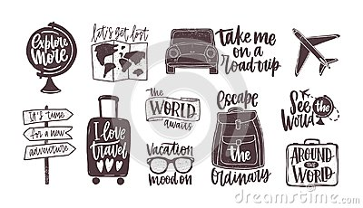 Bundle of handwritten motivational slogans decorated with tourism, travel and vacation elements - backpack, suitcase
