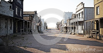 Western town road with various businesses and Depth of field .