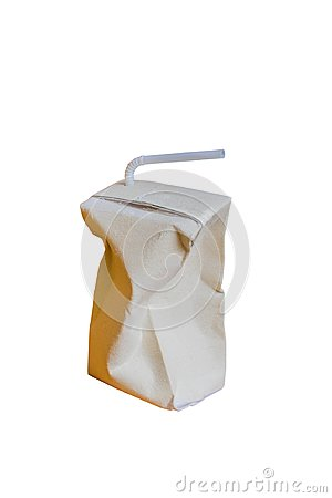 Used Brown milk carton is crumple isolated on white