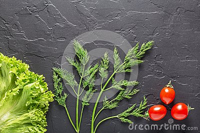 Parsley, dill, cabbage leaves, pepper on a dark concrete background. Fresh products for salads and vegetarian food.