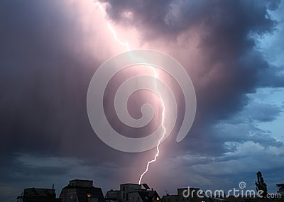 Thunderstorm lights. Bright lightning thunderstorms sparkle from the cloud. Dangerous electrical flash. Levin or scintillation.
