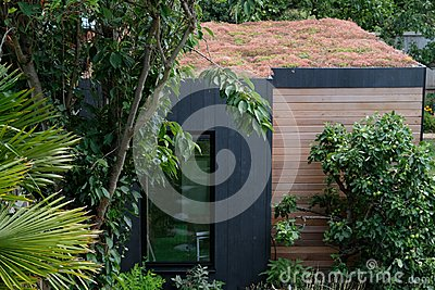 Garden room, green retreat with bee friendly, living sedum roof in well stocked, mature garden.