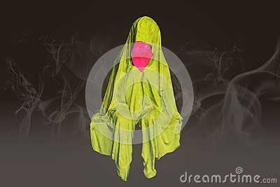 Abstract colorfull sitting no face ghosts with mist smoke background.