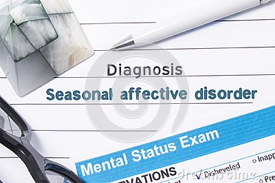Psychiatric Diagnosis Seasonal Affective Disorder. Medical book or form with name of diagnosis Seasonal Affective Disorder is on t