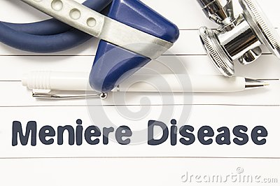 Diagnosis of Meniere Disease closeup. Medical book guide for doctor neurologist with heading text of inner ear disorder Meniere Di