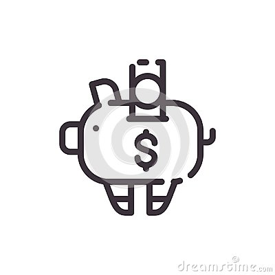 Dollar piggy bank. Financial investments. Vector liner black icon.
