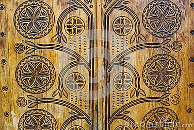 Wooden door with abstracts