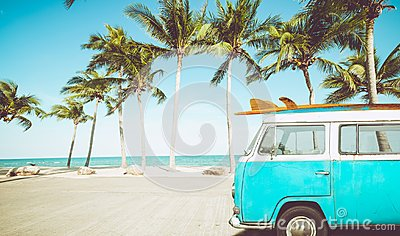 Vintage car parked on the tropical beach