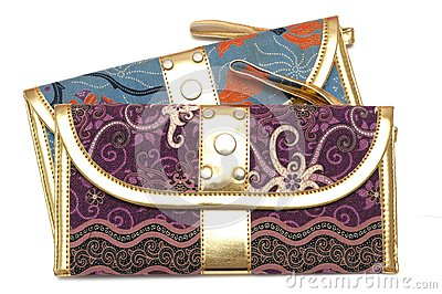 A purple and blue pouch with zipper puller