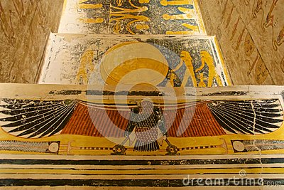 Painting found in the tomb of King Tut in the Valley of the Kings in Luxor, Egypt