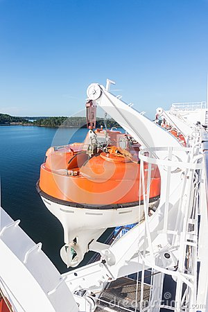 Lifeboat on deck of a ship