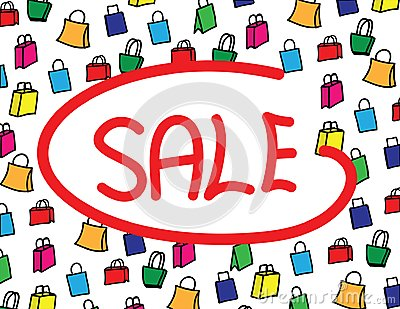 The word Sale on white background with clolorful shopping bags