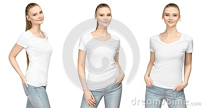 Girl in blank white tshirt mockup design for print and concept template young woman in T-shirt front and half turn side view