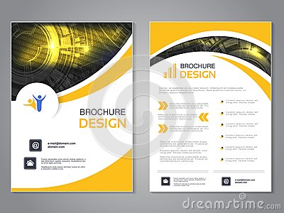 Vector modern brochure with wave design, abstract flyer with technology background. Layout template. Poster of black, yellow and w