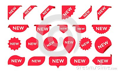 Stickers for New Arrival shop product tags, labels or sale posters and banners vector sticker icons