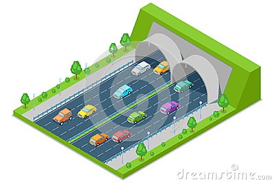 Highway road passes through tunnel in mountain, vector isometric 3D illustration. Transport, road construction concept