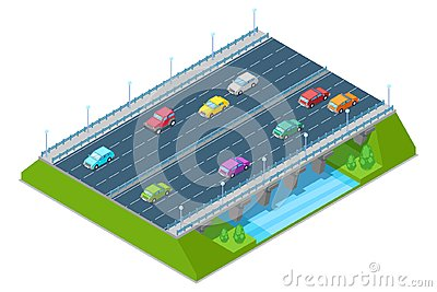 Highway road bridge passes above the river, vector isometric 3D illustration. Transport and road construction concept
