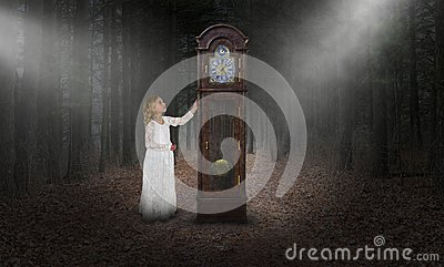 Surreal Time, Grandfather Clock, Girl