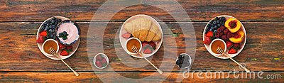 Collage of breakfast meals on wooden background, top view