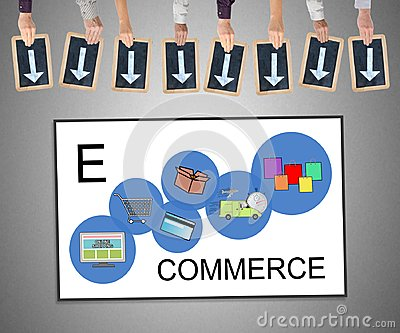 E-commerce concept on a whiteboard