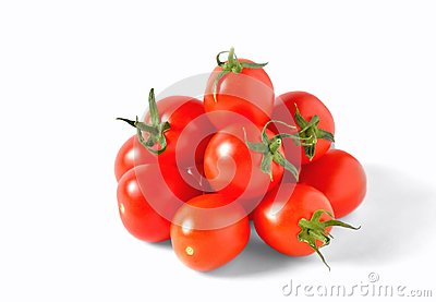Red cherry tomatoes on white background, isolate,