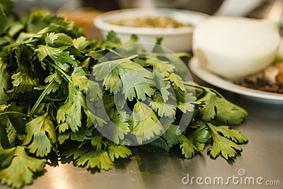 Parsley or perejil in a kitchen, cooking mexican food in mexico city