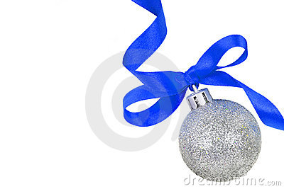 Christmas silver ball with blue ribbon