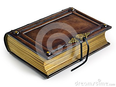 Aged brown leather bound book with metal buckle and gilded paper edges