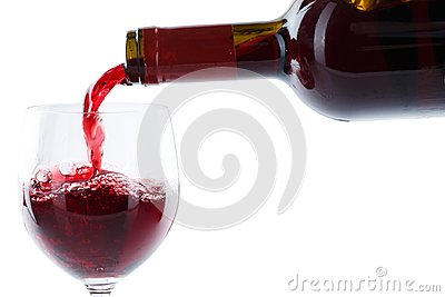 Wine pouring glass bottle red pour isolated on white