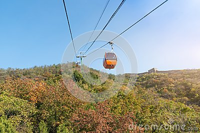 Cable car taking visitors up to the Mutianyu section of the Great Wall of China located in Huairou Country northeast of Central B