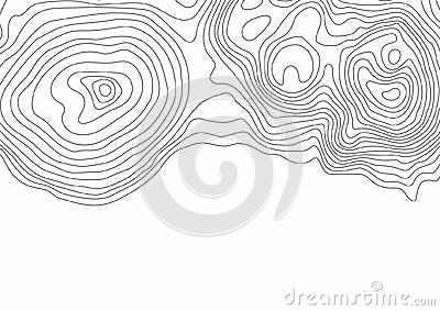 Abstract black and white topographic contours lines of mountains