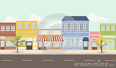 Colorful city with shops