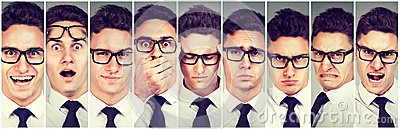 stock image of mood swings. man changing emotions from happy to getting angry