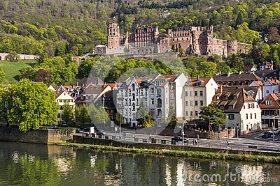 Romantic Renaissance Heidelberg castle - landmark of the famous university city, view from the old bridge across Neckar river, G