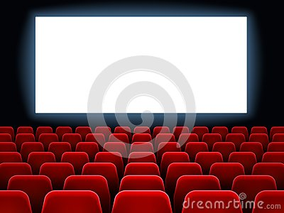 Movie premiere event at cine theatre. Cinema white blank screen at movie hall interior with empty seats vector