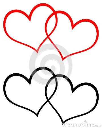 Red and black two hearts clip art