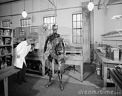 stock image of vintage surreal scientist, science, robot technology